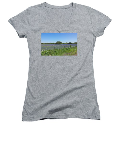 Women's V-Neck T-Shirt (Junior Cut) featuring the photograph Texas Blue Bonnets by Shawn Marlow