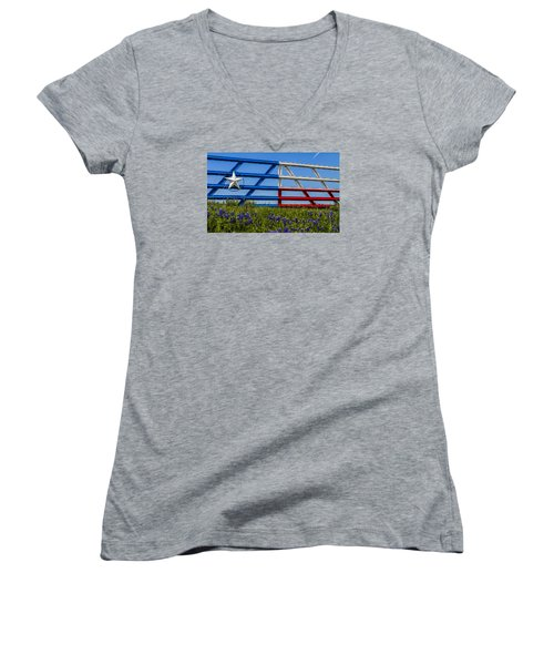 Texas Flag Painted Gate With Blue Bonnets Women's V-Neck