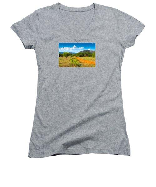 Texas Hill Country Red Dirt Road Women's V-Neck T-Shirt (Junior Cut) by Darryl Dalton