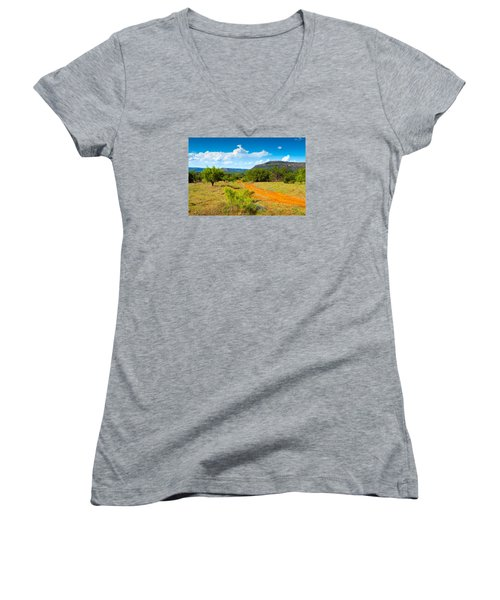 Texas Hill Country Red Dirt Road Women's V-Neck T-Shirt