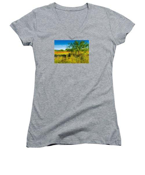 Texas Hill Country Wildflowers Women's V-Neck T-Shirt (Junior Cut) by Darryl Dalton