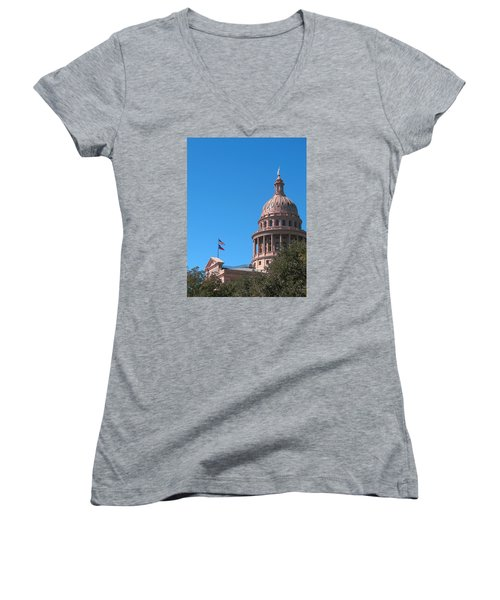 Texas State Capitol With Pediment Women's V-Neck T-Shirt (Junior Cut) by Connie Fox