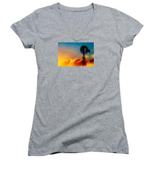 Texas Sunrise Women's V-Neck T-Shirt (Junior Cut) by Darryl Dalton