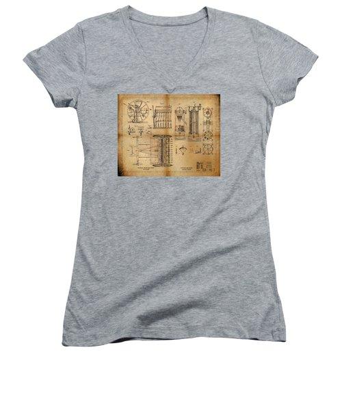 Textile Machine Women's V-Neck T-Shirt (Junior Cut) by James Christopher Hill