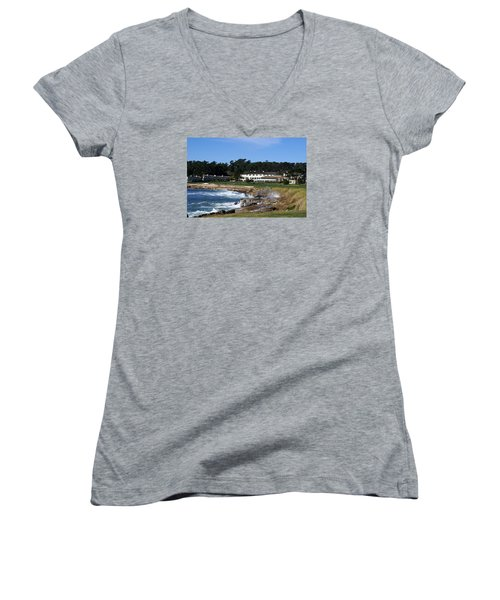 The 18th At Pebble Beach Women's V-Neck T-Shirt (Junior Cut) by Barbara Snyder