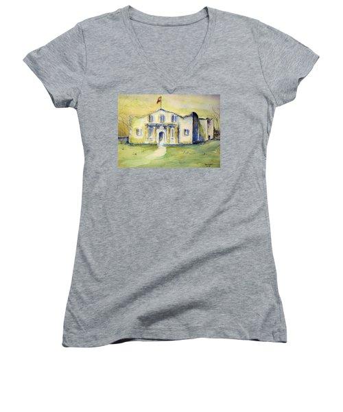 Women's V-Neck T-Shirt (Junior Cut) featuring the painting The Alamo  by Bernadette Krupa