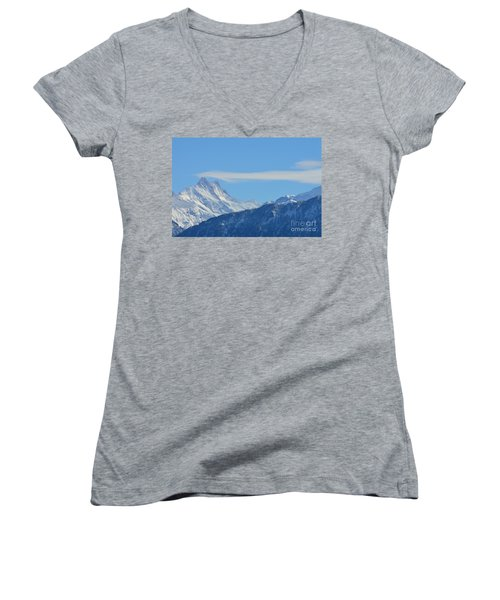 The Alps In Azure Women's V-Neck (Athletic Fit)