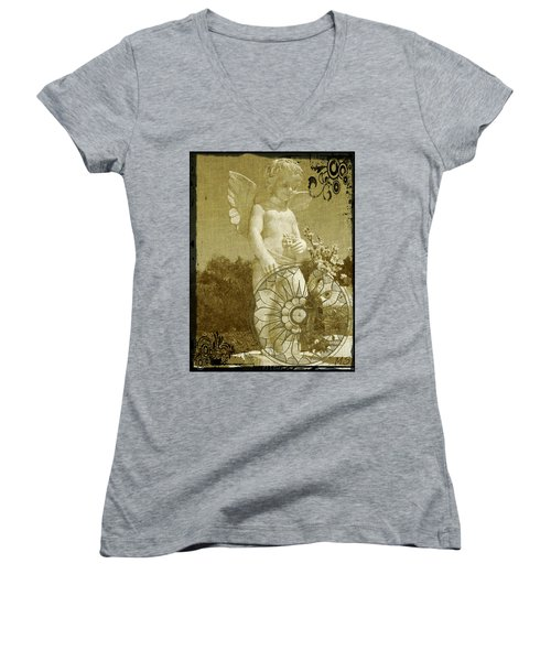The Angel - Art Nouveau Women's V-Neck T-Shirt (Junior Cut) by Absinthe Art By Michelle LeAnn Scott