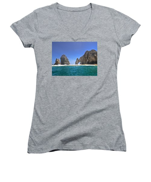 Women's V-Neck T-Shirt (Junior Cut) featuring the photograph The Arch  Cabo San Lucas On A Low Tide by Eti Reid