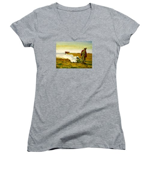Women's V-Neck T-Shirt (Junior Cut) featuring the painting The Autumn by Henryk Gorecki