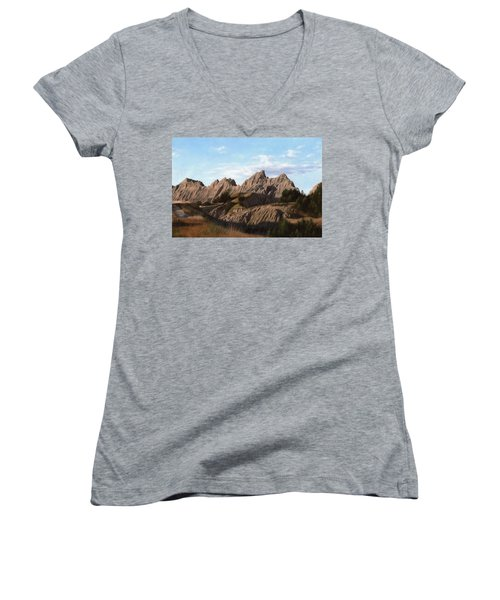 The Badlands In South Dakota Oil Painting Women's V-Neck (Athletic Fit)