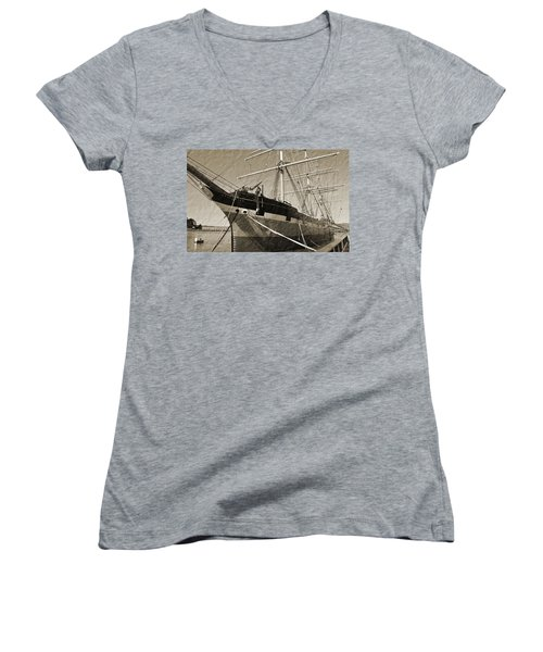 The Balclutha Women's V-Neck T-Shirt (Junior Cut) by Holly Blunkall