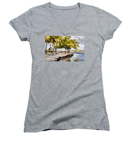 The Beach At Coconut Palm Inn Women's V-Neck