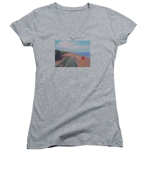 The Beach At Flagler Beach Women's V-Neck (Athletic Fit)