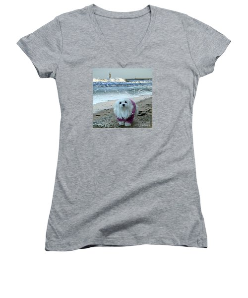 The Beach In Winter Women's V-Neck T-Shirt (Junior Cut) by Morag Bates