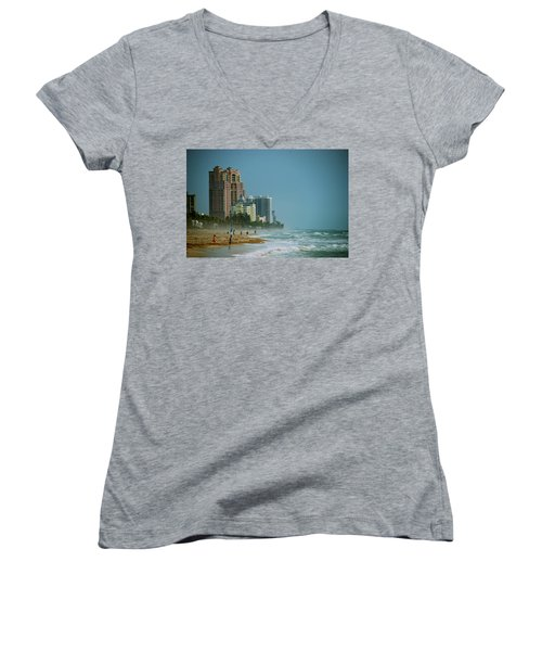 The Beach Near Fort Lauderdale Women's V-Neck T-Shirt (Junior Cut) by Eric Tressler
