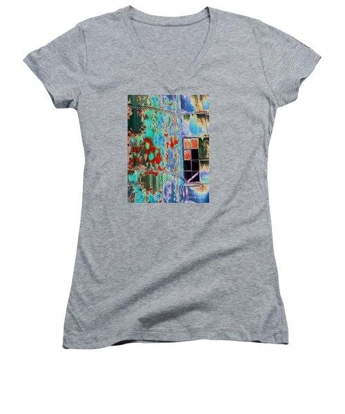The Beauty Of Steel Women's V-Neck T-Shirt (Junior Cut) by Marcia Lee Jones