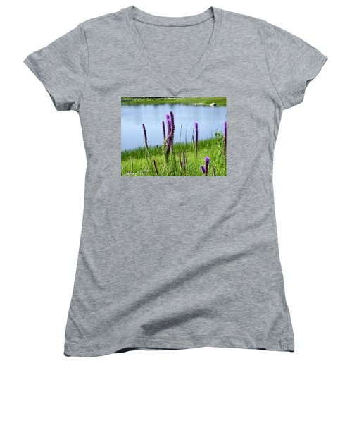 Women's V-Neck T-Shirt (Junior Cut) featuring the photograph The Beauty Of The Liatris by Verana Stark