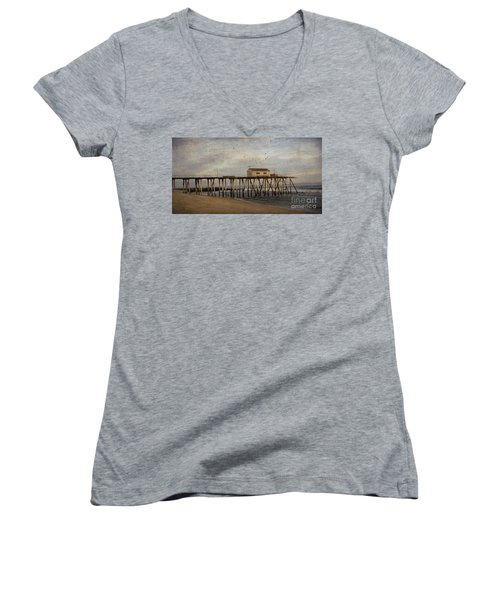 Women's V-Neck T-Shirt (Junior Cut) featuring the photograph The Belmar Fishing Club Pier by Debra Fedchin