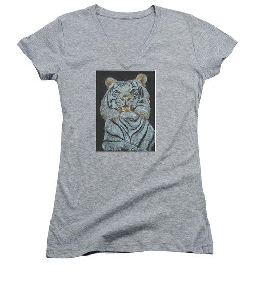 Women's V-Neck T-Shirt (Junior Cut) featuring the pastel The Bengal by Carol Wisniewski