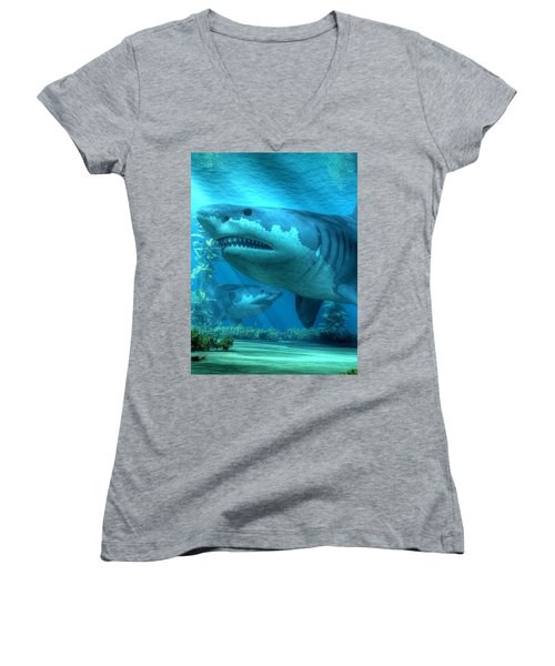 The Biggest Shark Women's V-Neck (Athletic Fit)
