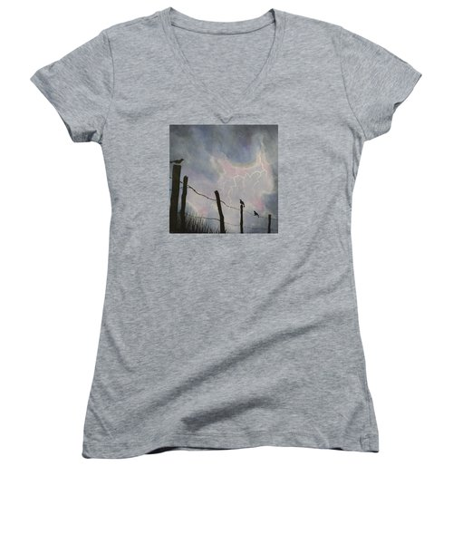 The Birds - Watching The Show Women's V-Neck T-Shirt