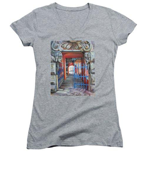 The Blue Gate Women's V-Neck T-Shirt (Junior Cut)