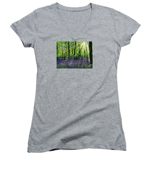 The Bluebell Woods Women's V-Neck T-Shirt (Junior Cut) by Morag Bates