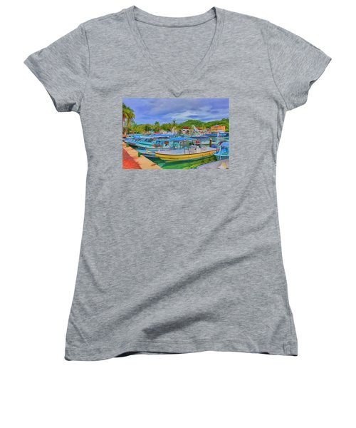 The Boats Of Hautulco Women's V-Neck