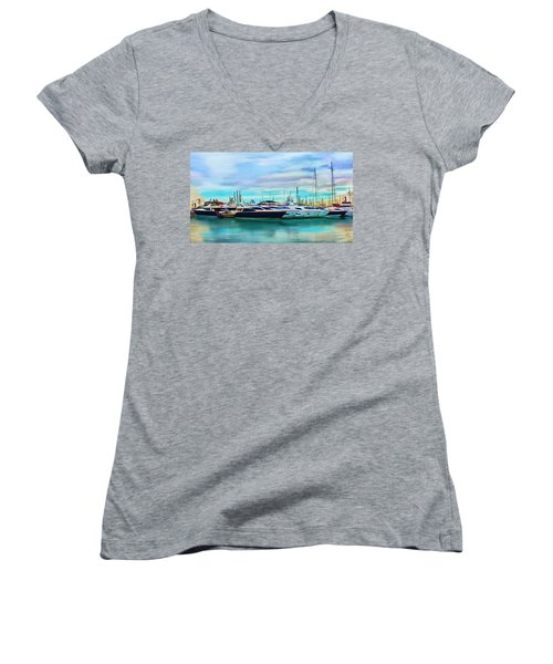 The Boats Of Malaga Spain Women's V-Neck