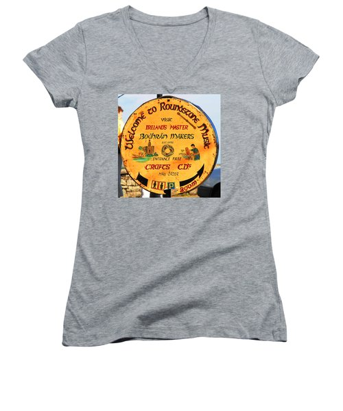 The Bodhran Makers Women's V-Neck T-Shirt (Junior Cut) by Charlie and Norma Brock