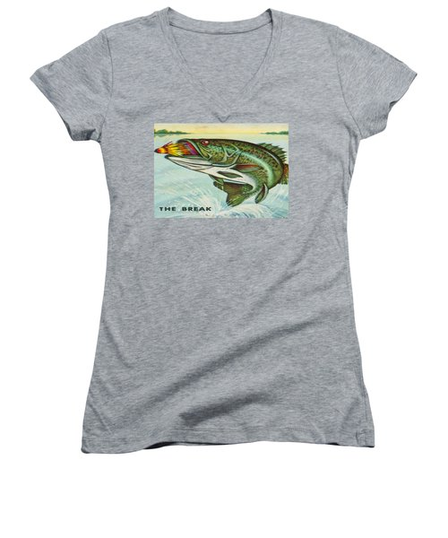 Women's V-Neck T-Shirt (Junior Cut) featuring the digital art The Break by Cathy Anderson