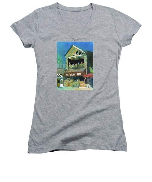 Women's V-Neck T-Shirt (Junior Cut) featuring the painting The Brown Bear by LeAnne Sowa