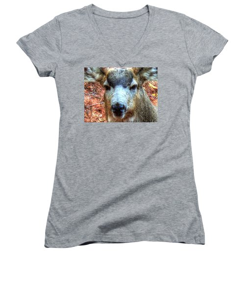 The Buck II Women's V-Neck T-Shirt (Junior Cut) by Lanita Williams
