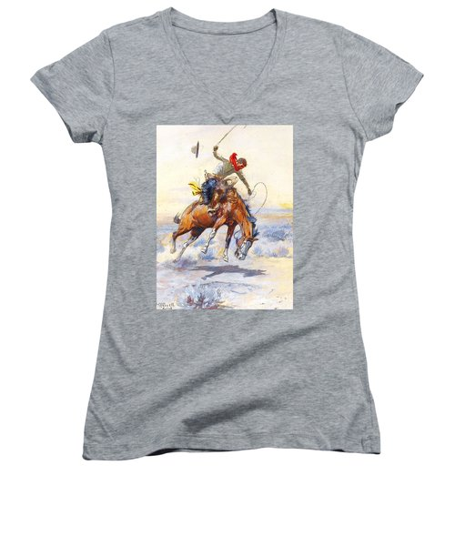 The Bucker By Charles M Russell Women's V-Neck T-Shirt (Junior Cut) by Pg Reproductions