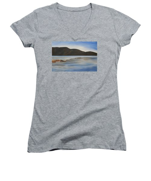 Women's V-Neck T-Shirt (Junior Cut) featuring the painting The Calm Water Of Akyaka by Tracey Harrington-Simpson