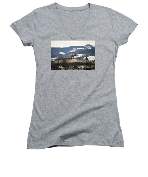 The Castle In Winter Look Women's V-Neck T-Shirt