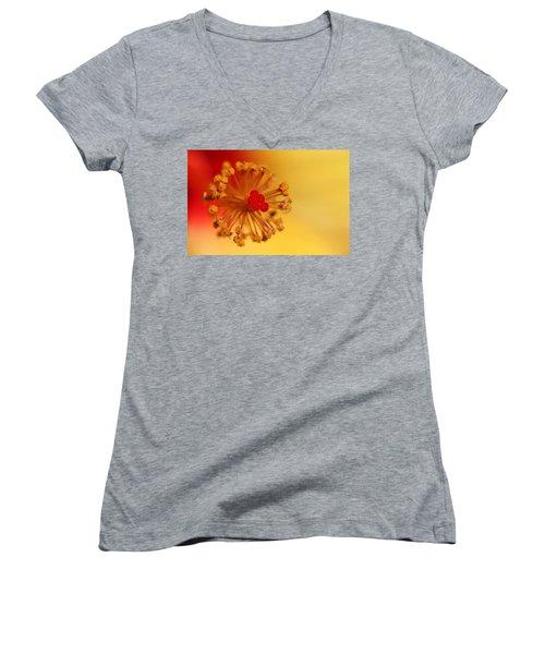 The Center Of The Hibiscus Flower Women's V-Neck T-Shirt (Junior Cut) by Debbie Oppermann
