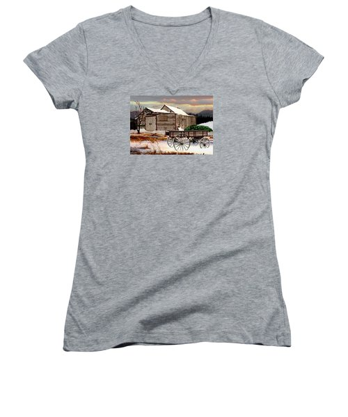 The Christmas Tree Women's V-Neck T-Shirt (Junior Cut) by Ron and Ronda Chambers
