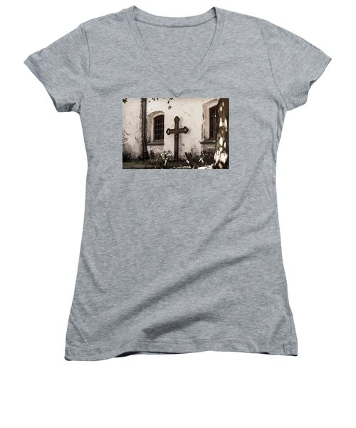 The Church Courtyard Women's V-Neck T-Shirt (Junior Cut) by Bill Howard