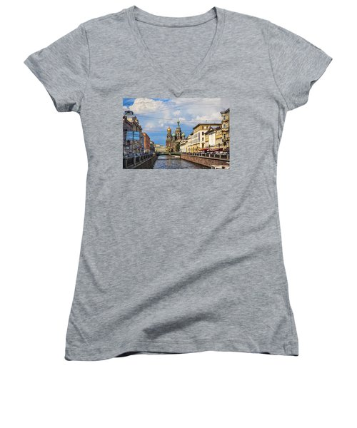 The Church Of Our Savior On Spilled Blood - St. Petersburg - Russia Women's V-Neck T-Shirt (Junior Cut) by Madeline Ellis