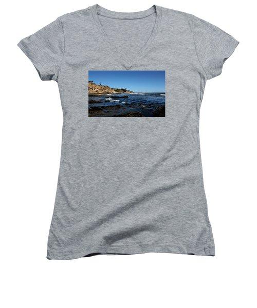 The Cliffs Of Pismo Beach Women's V-Neck T-Shirt (Junior Cut) by Judy Vincent