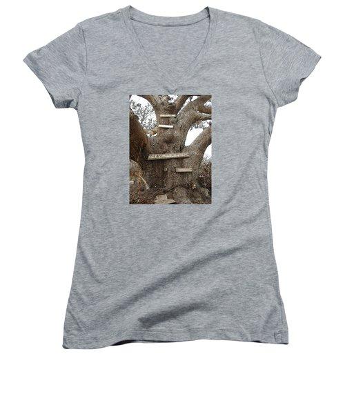 The Climbing Tree - Hurricane Katrina Survivor Women's V-Neck T-Shirt (Junior Cut) by Rebecca Korpita