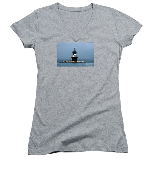 The Coffee Pot Lighthouse Women's V-Neck T-Shirt (Junior Cut) by Christiane Schulze Art And Photography