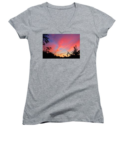 Women's V-Neck T-Shirt (Junior Cut) featuring the photograph The Color Gets Good by Kathryn Meyer