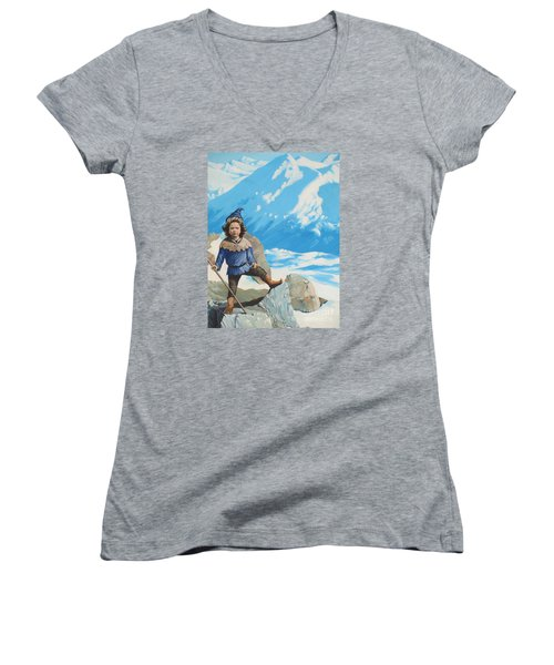 The Conquerer. Women's V-Neck T-Shirt (Junior Cut) by Vivien Rhyan