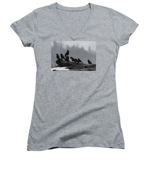 Women's V-Neck T-Shirt (Junior Cut) featuring the photograph The Corvidae Family  by Cathie Douglas