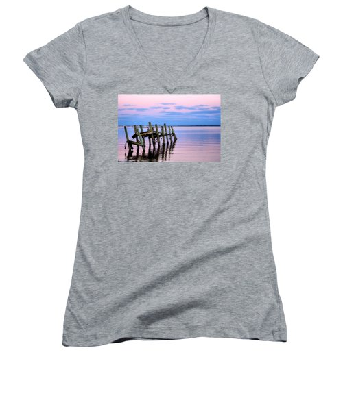 Women's V-Neck T-Shirt (Junior Cut) featuring the photograph The Cove Dock by Brian Hughes