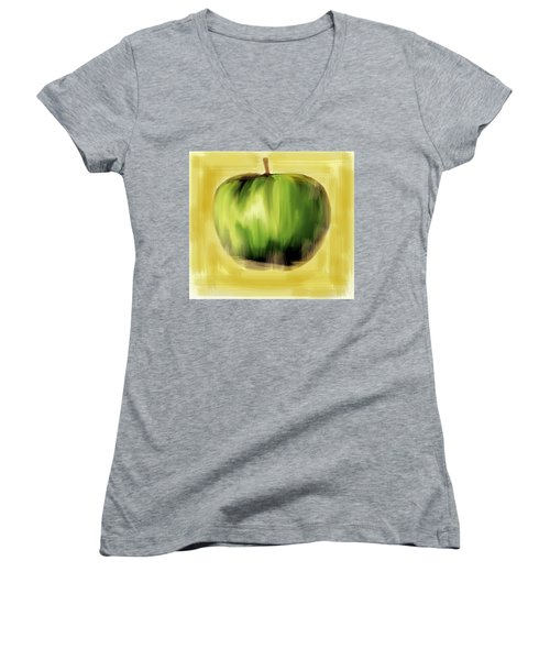 Women's V-Neck T-Shirt (Junior Cut) featuring the painting The Creative Apple by Iconic Images Art Gallery David Pucciarelli