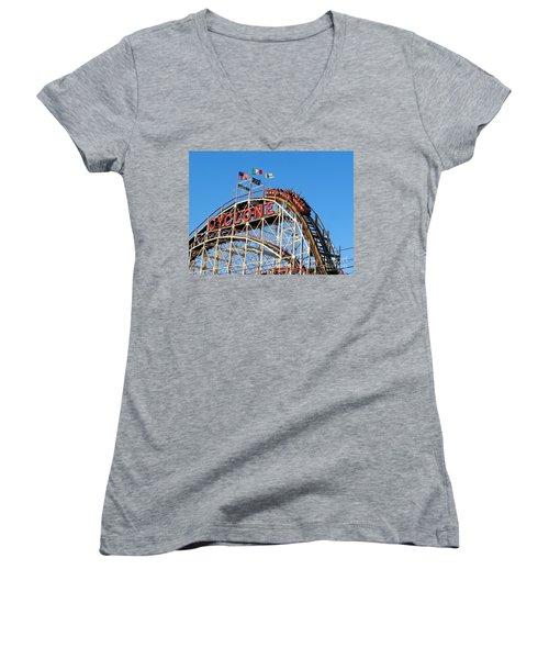 The Cyclone Women's V-Neck T-Shirt (Junior Cut) by Ed Weidman